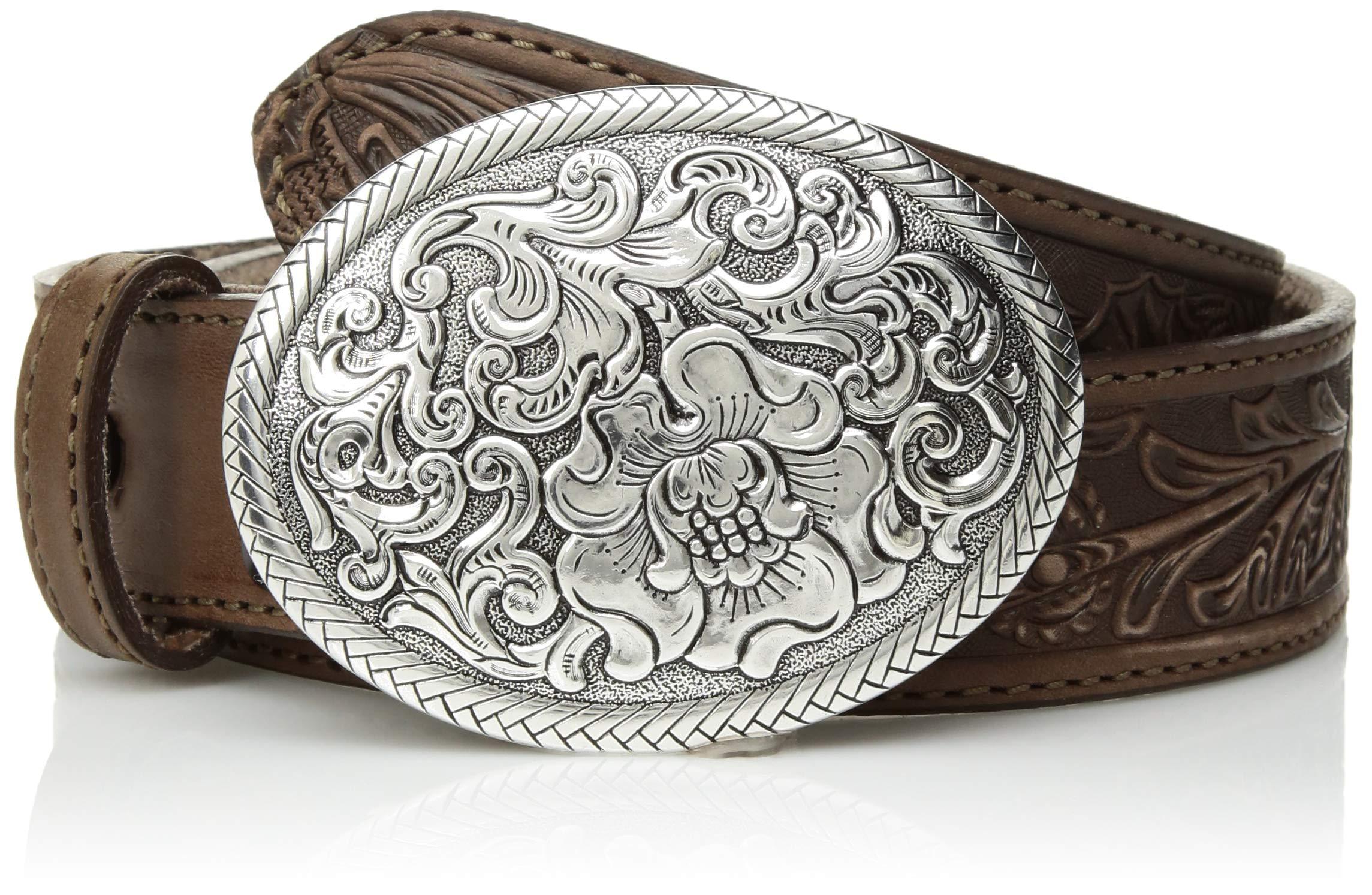 Nocona Belt Co. Women's USA Aged Floral Buckle Belt, brown, Large