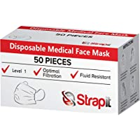 Strapit Surgimask Level 1 Face Mask with Loop, 50 count, Pack of 50