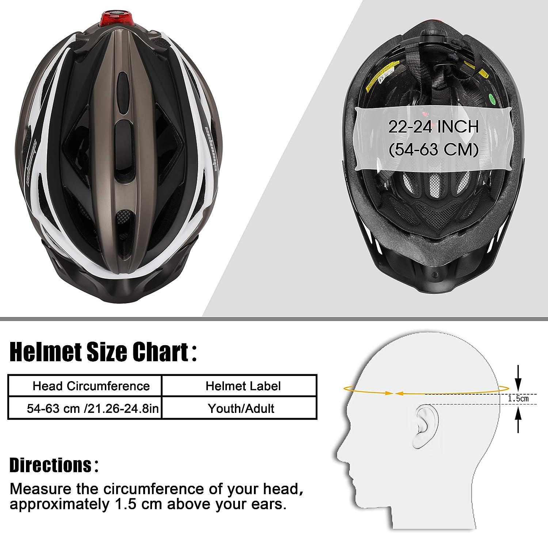 regolabile per ciclismo Kinglead casco da bicicletta con luce ricaricabile di sicurezza equitazione unisex super leggero certificato CE protetto sport allaria aperta