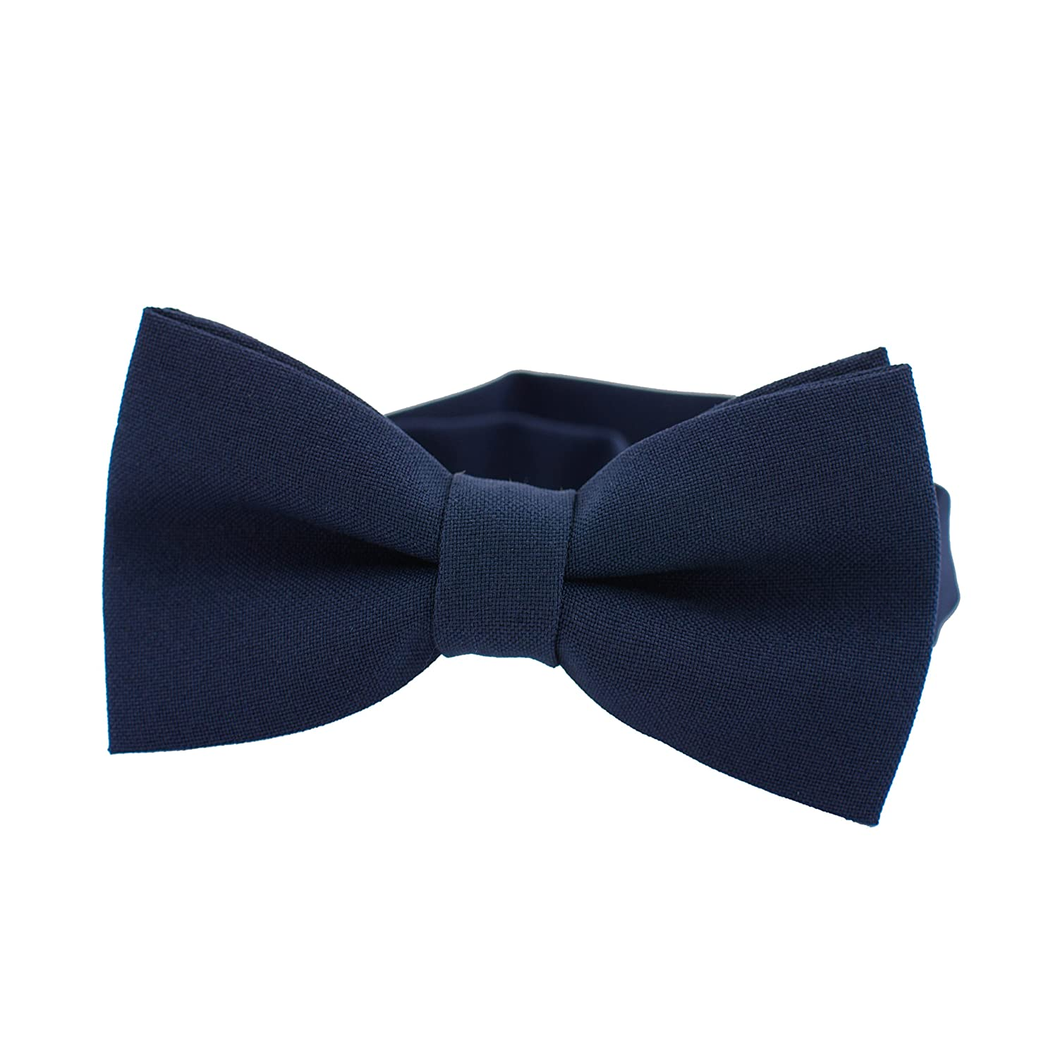 Large, Denim Classic Pre-Tied Bow Tie Formal Solid Tuxedo by Bow Tie House