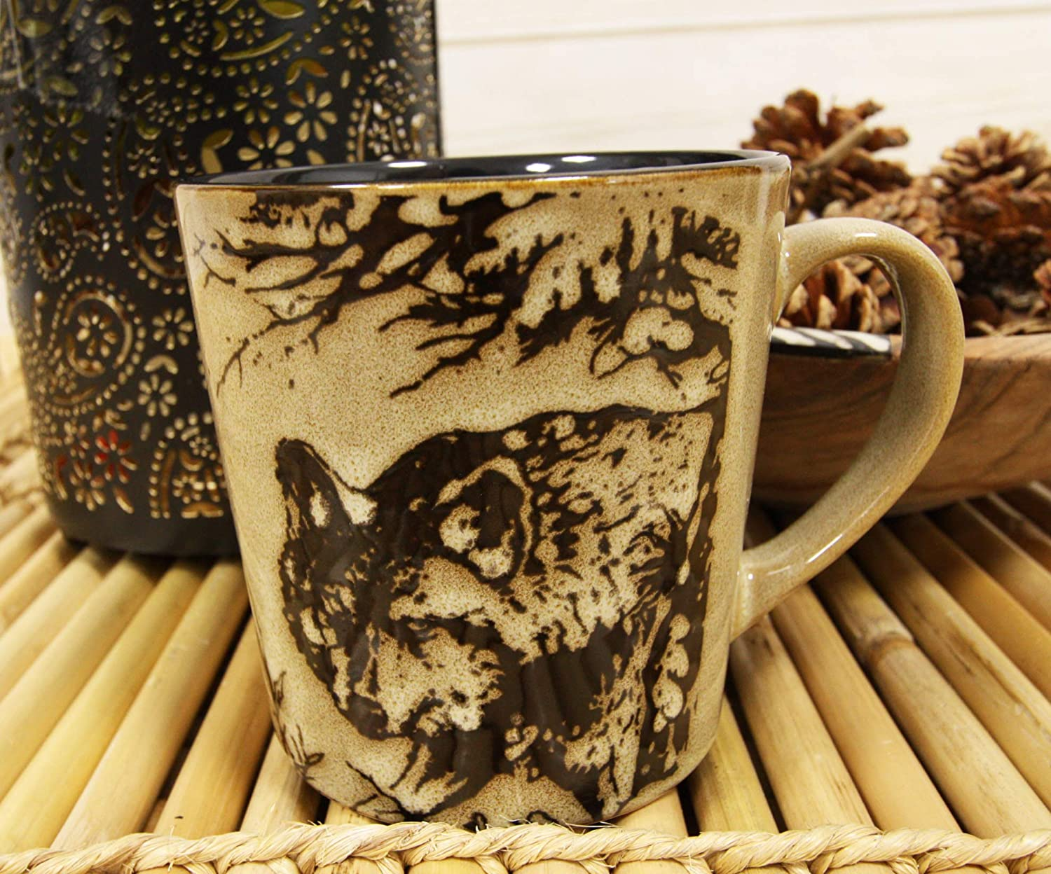 Ebros Wildlife Prowling Alpha Wolf Coffee Mug 16oz Ceramic Cup Glazed Stoneware Rustic Western Home Kitchen Decorative Mugs