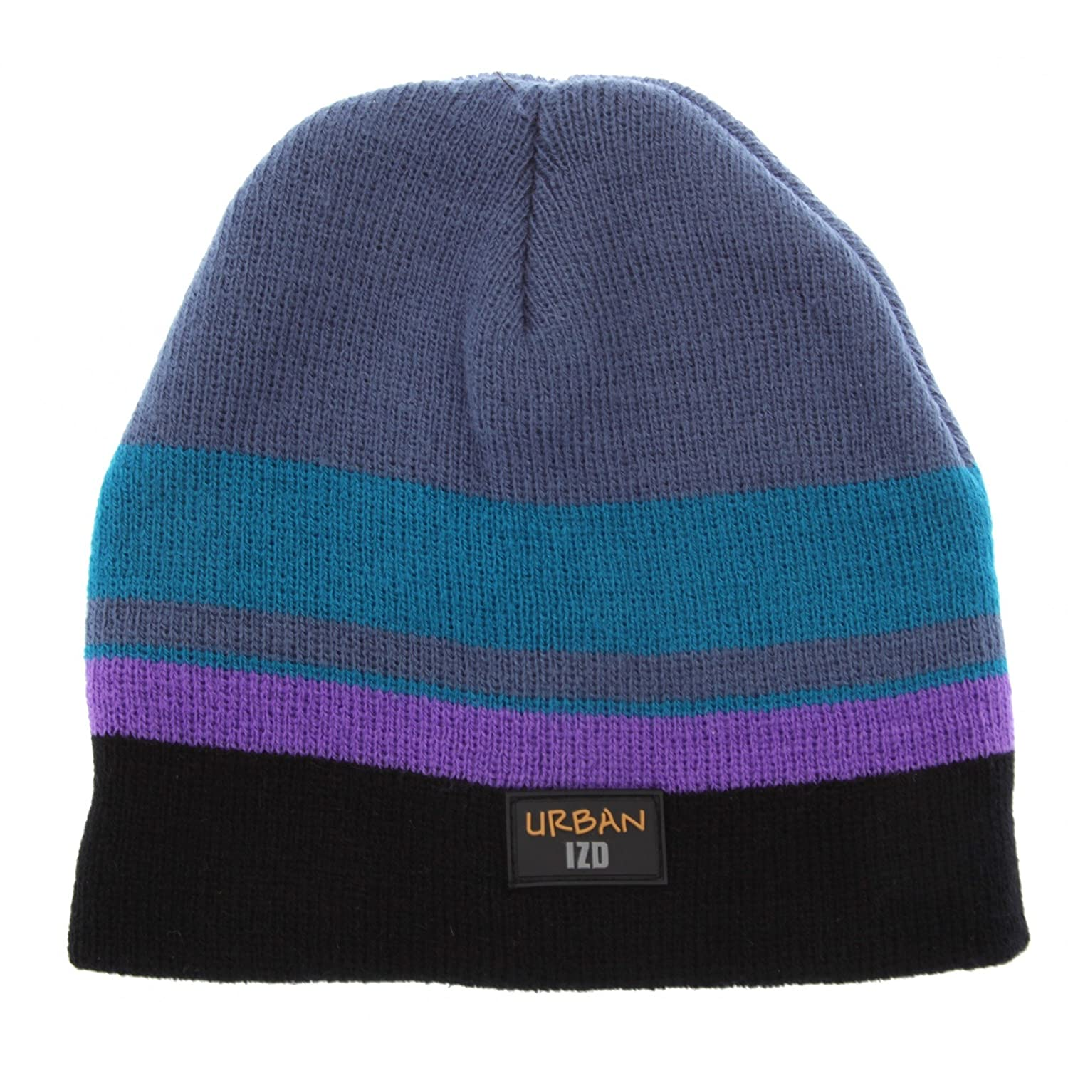 Boys Childrens Striped Thermal Winter Beanie Hat