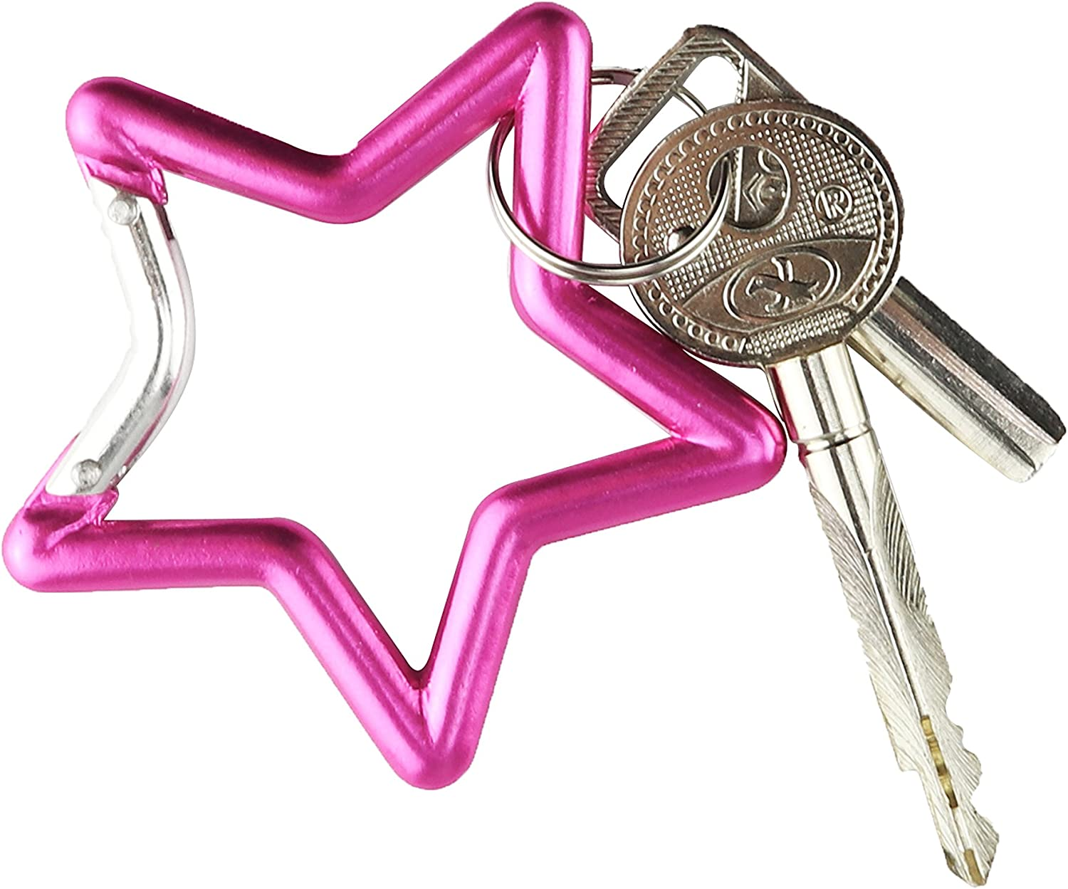 Temlum Aluminum Alloy Star Shape Carabiner 2//2.8 Inches Clip Spring Snap Hook Keyring Colorful Carabiners for Camping Traveling Hiking Keychains Outdoor