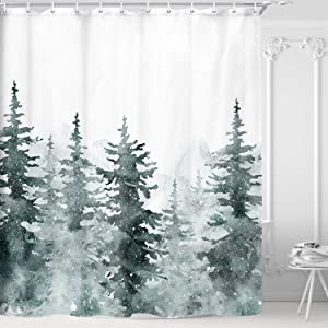 NYMB Winter Evergereen Forest Shower Curtain, Snowy Woodland Landscape in Neutral Grey Colors for Christmas, Waterproof Fabric Bathroom Accessories Decor Bath Curtain Set, 69X70 Inches