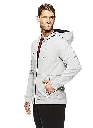 20571491b2 Gaiam Men's Foundation Full Zip Up Jacket - Hooded Activewear & Yoga  Sweater - Grey Heather