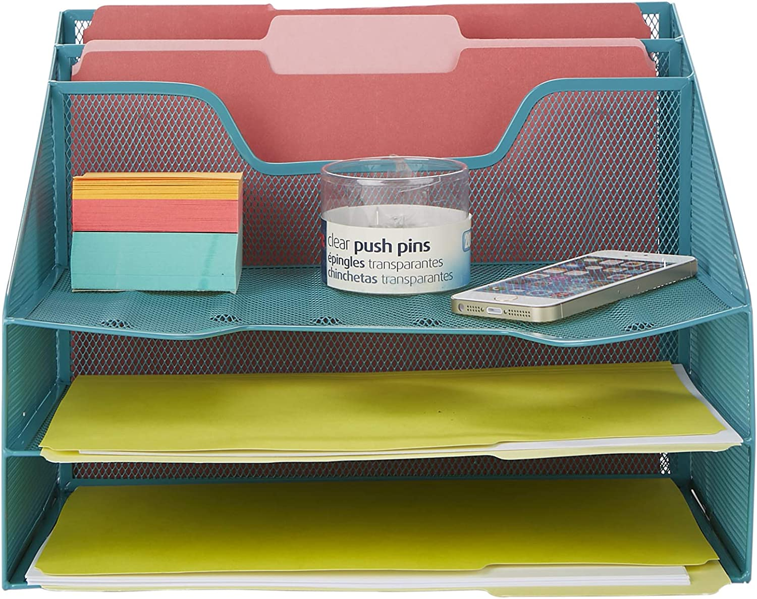 Mind Reader MESHBOX5-TUR Organizer 5 Desktop Document Letter Tray for Folders, Mail, Stationary, Desk Accessories, Turquoise