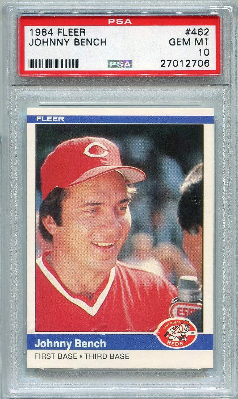 Amazoncom 1984 Fleer Johnny Bench Cincinnati Reds 57 Psa