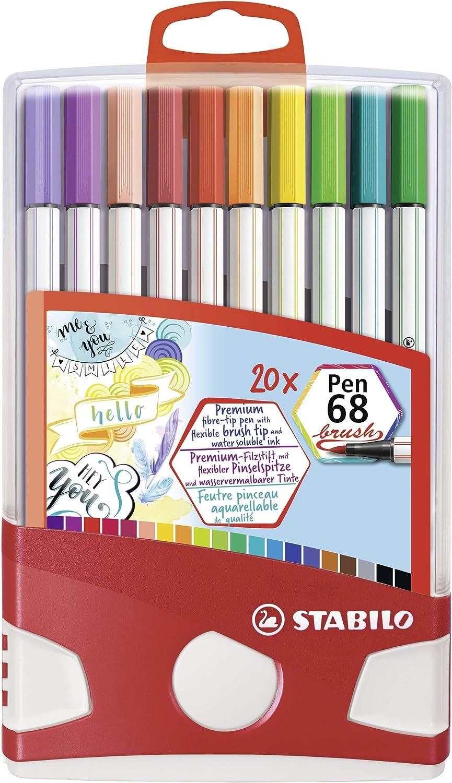 Premium Filzstift Mit Pinselspitze Für Variable Strichstärken Stabilo Pen 68 Brush Colorparade 20er Tischset Mit 19 Verschiedenen Farben Bürobedarf Schreibwaren