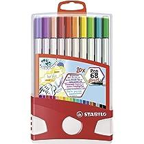 STABILO Pen 68 brush Rotulador punta de pincel - Estuche Colorparade con 20 colores: Amazon.es: Oficina y papelería