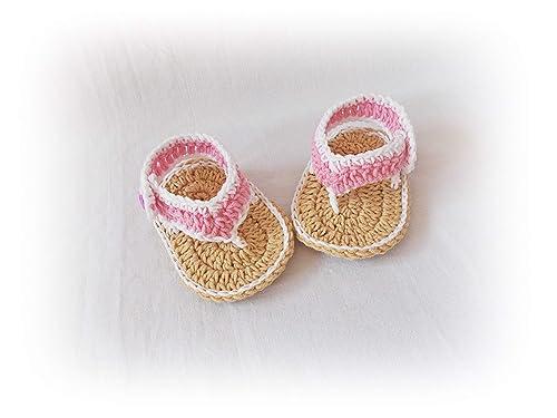 Handmade Baby Sandals Summer Sandals Baby Bow Espadrilles Bow Sandals  Crochet Flip Flops Baby Girl Shoes Cotton Baby Espadrilles