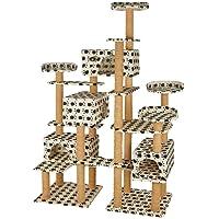 TecTake Katzen Kratzbaum Katzenbaum XXL | Stämme komplett mit Kokosseil umwickelt | 214cm hoch - diverse Farben