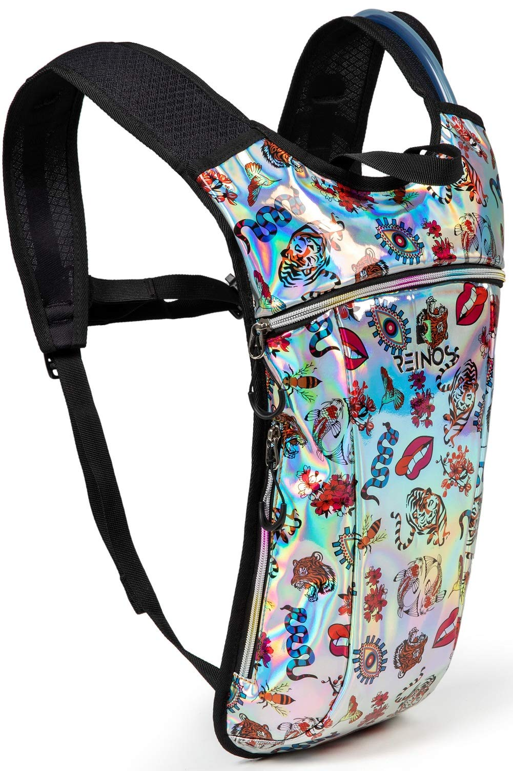 REINOS Hydration Backpack - Light Water Pack - 2L Water Bladder Included for Running, Hiking, Biking, Festivals, Raves (Tiger) by REINOS