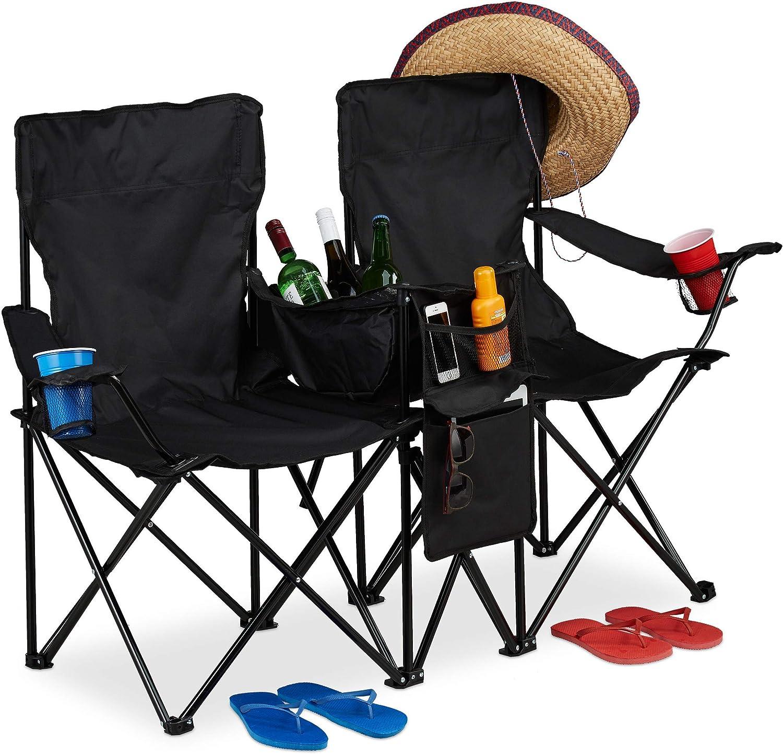 Relaxdays, Negro, Silla Plegable Camping de 2 Personas, Acero-Poliéster, 89 x 146 x 46 cm
