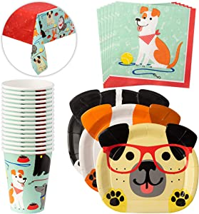 Dog themed birthday party supplies - Dog Shaped Dinner Plates, Cups, Napkins & Tablecloth - Dog Birthday Party Plates - Dog Themed Party Tableware Set for 16 Guests