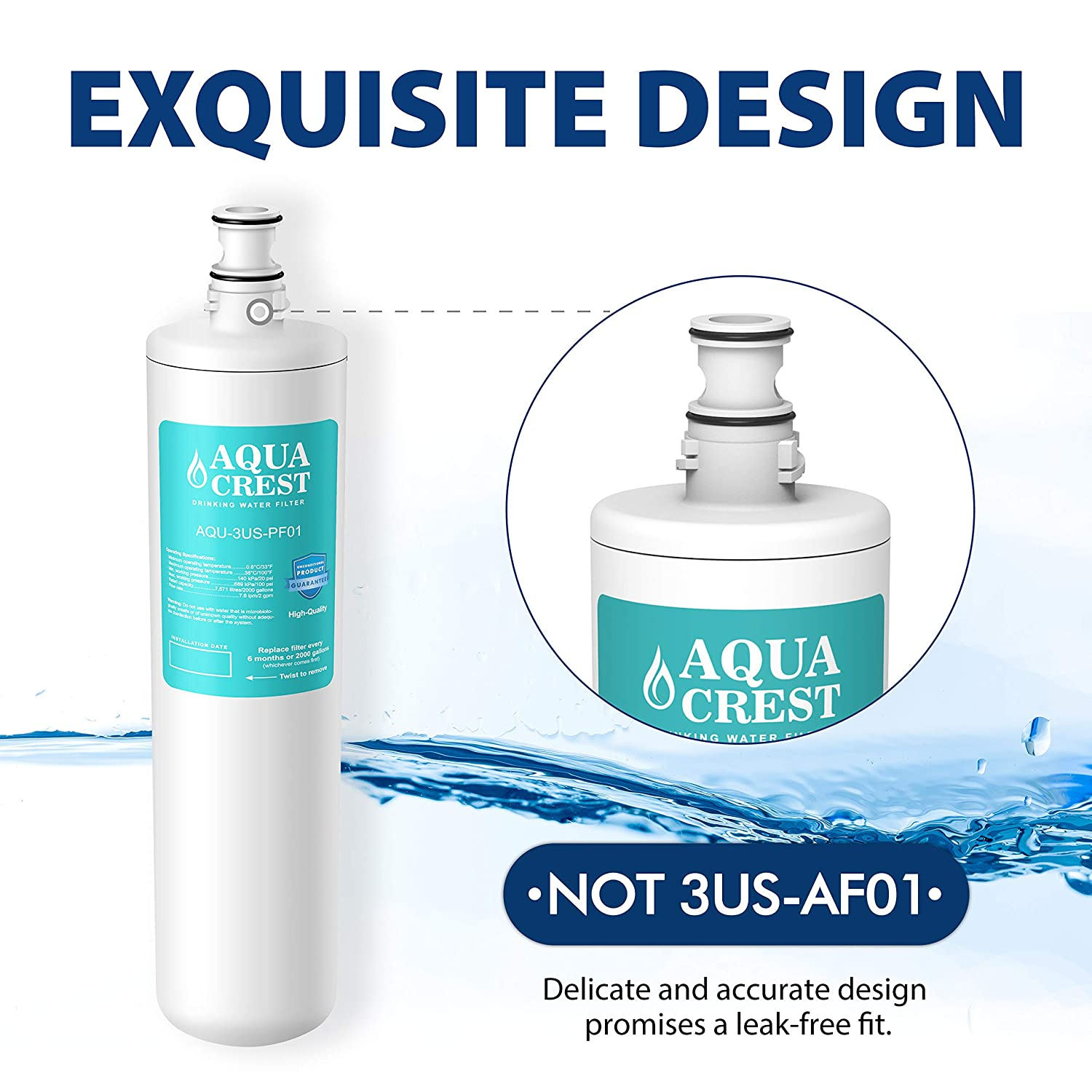 K-00338 Water Filter AQUA CREST 3US-PF01 Under Sink Water Filter Manitowoc K-00337 3US-PF01H Compatible with Filtrete Advanced 3US-PF01 3US-MAX-F01H Delta RP78702