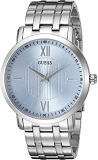 GUESS Mens U0716G1 Classic Silver-Tone Watch with Sky Blue Dial