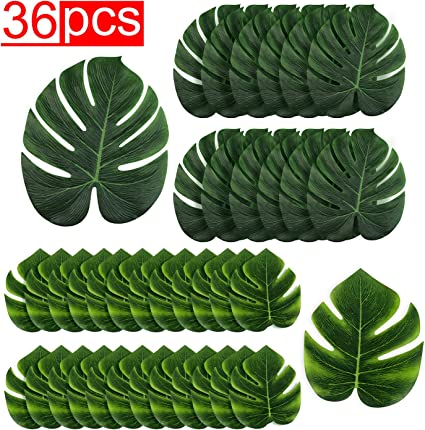 Imitation Plant Leaf for Hawaiian Beach Jungle Party Decorations Party Table Decorations Livder 13.5 Inch Tropical Palm Leaves 25 Pack Livder Decor
