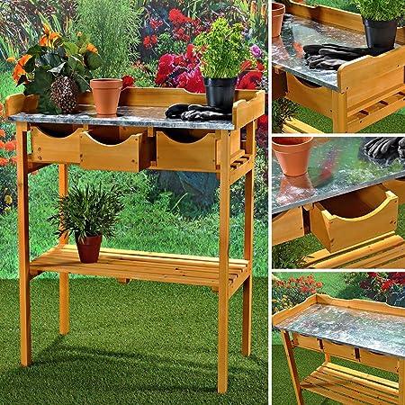 MUI – Mesa auxiliar, + 3 cajones Maceta de jardín Invernadero Jardín Mesa de trabajo: Amazon.es: Jardín