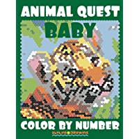 Baby Animal Quest Color by Number: Activity Puzzle Coloring Book for Adults Relaxation & Stress Relief