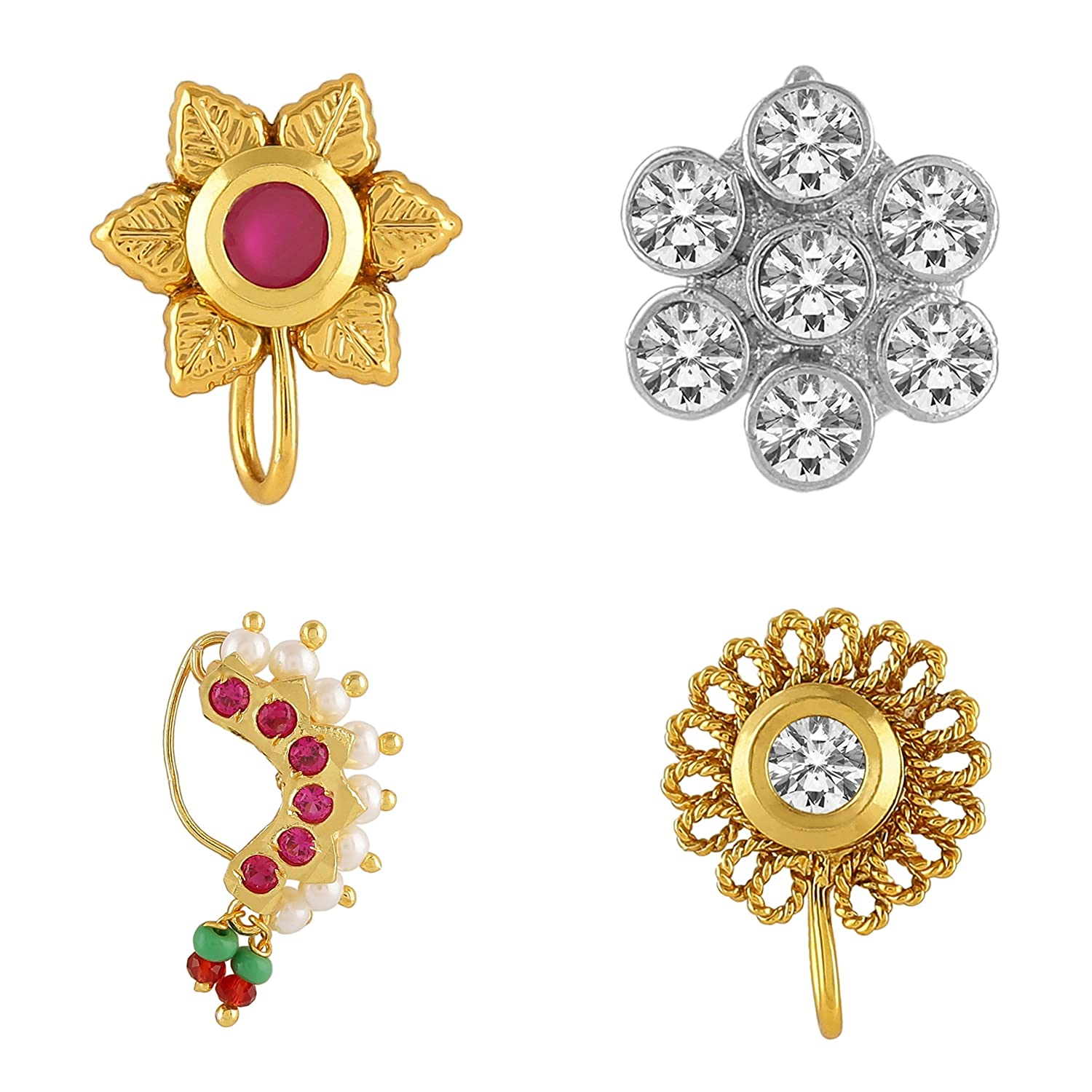 AccessHer pack of 4 ethnic, stylish nose pins/ nath for women