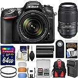 Nikon D7200 Wi-Fi Digital SLR Camera & 18-140mm VR DX & 55-300mm VR Lens with 64GB Card + Backpack + Battery/Charger + Filters + Remote + Kit