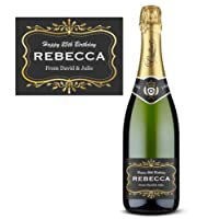Personalised Champagne Wine Label - weddings or engagements, family & friends - Gold / Black