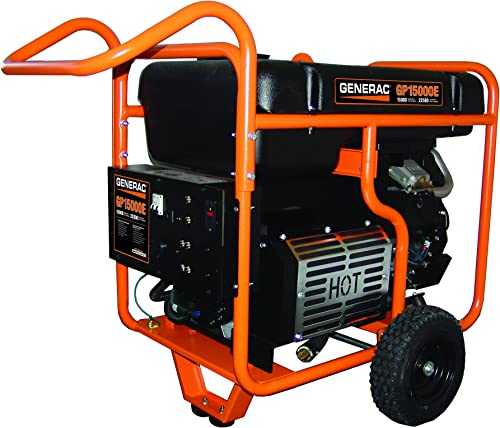 Generac 5734 GP15000E 15000 Running Watts 22500 Starting Watts Electric Start Gas Powered Portable Generator