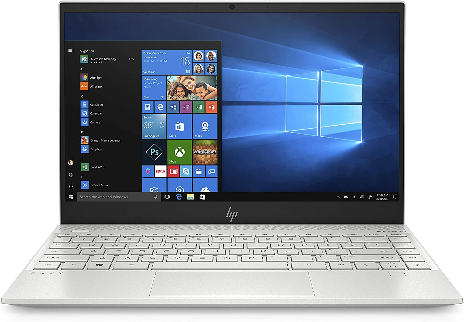 "HP Envy 13"" Thin Laptop W/ Fingerprint Reader, FHD Touchscreen, Intel Core i7-8565U, 8GB SDRAM, 256GB SSD, Windows 10 Home (13-aq0005nr, Natural Silver)"