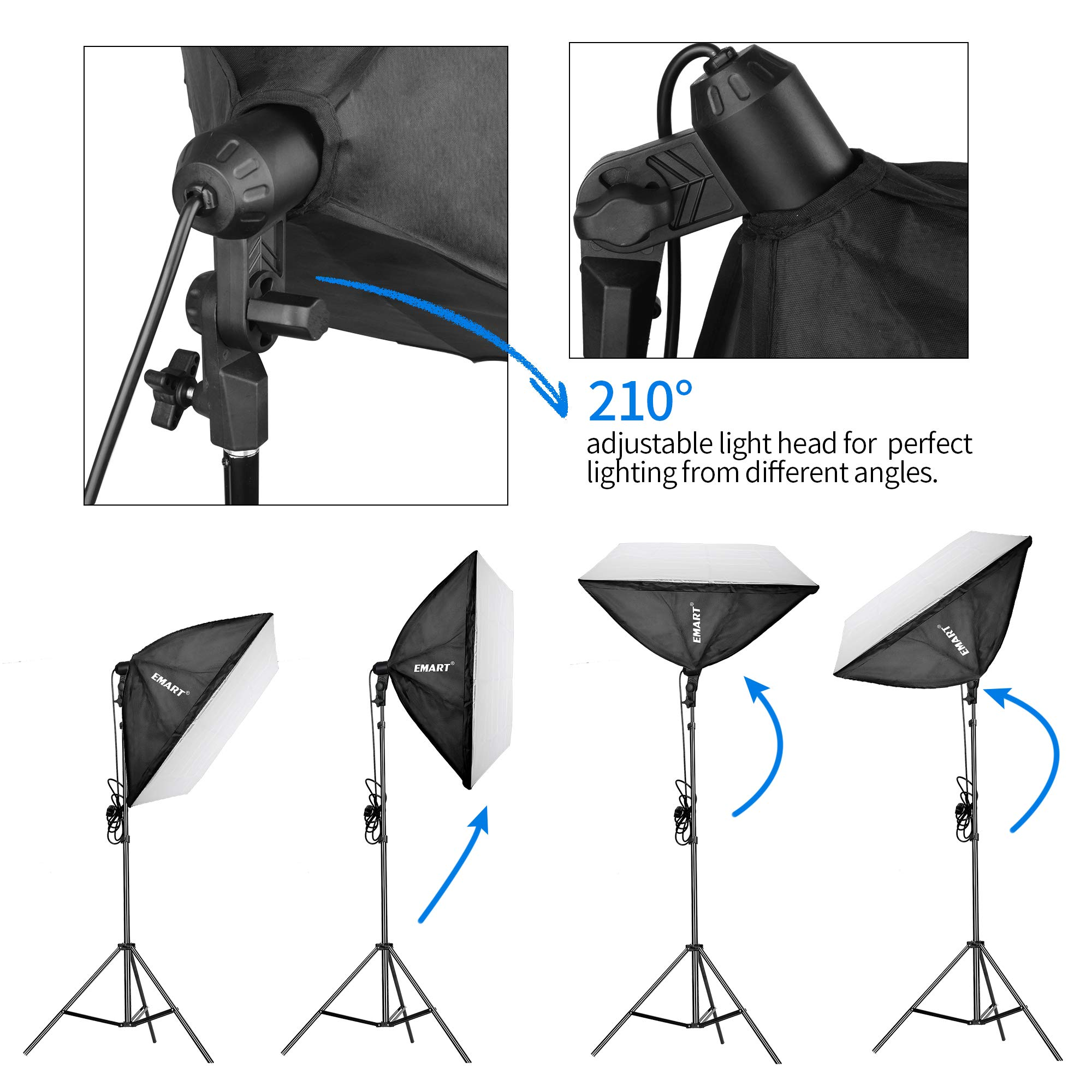 Emart 900W Softbox Lighting Kit Photography Continuous Photo Studio Light System for YouTube Video Shooting Soft Box 24'' x 24'' by EMART (Image #4)