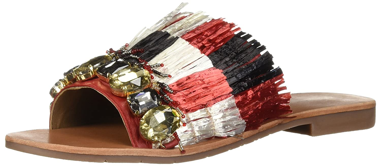 Kenneth Cole New York Women's Heron Fringe and Jewels Slide Sandal B07C323664 7.5 B(M) US|Red/Multi