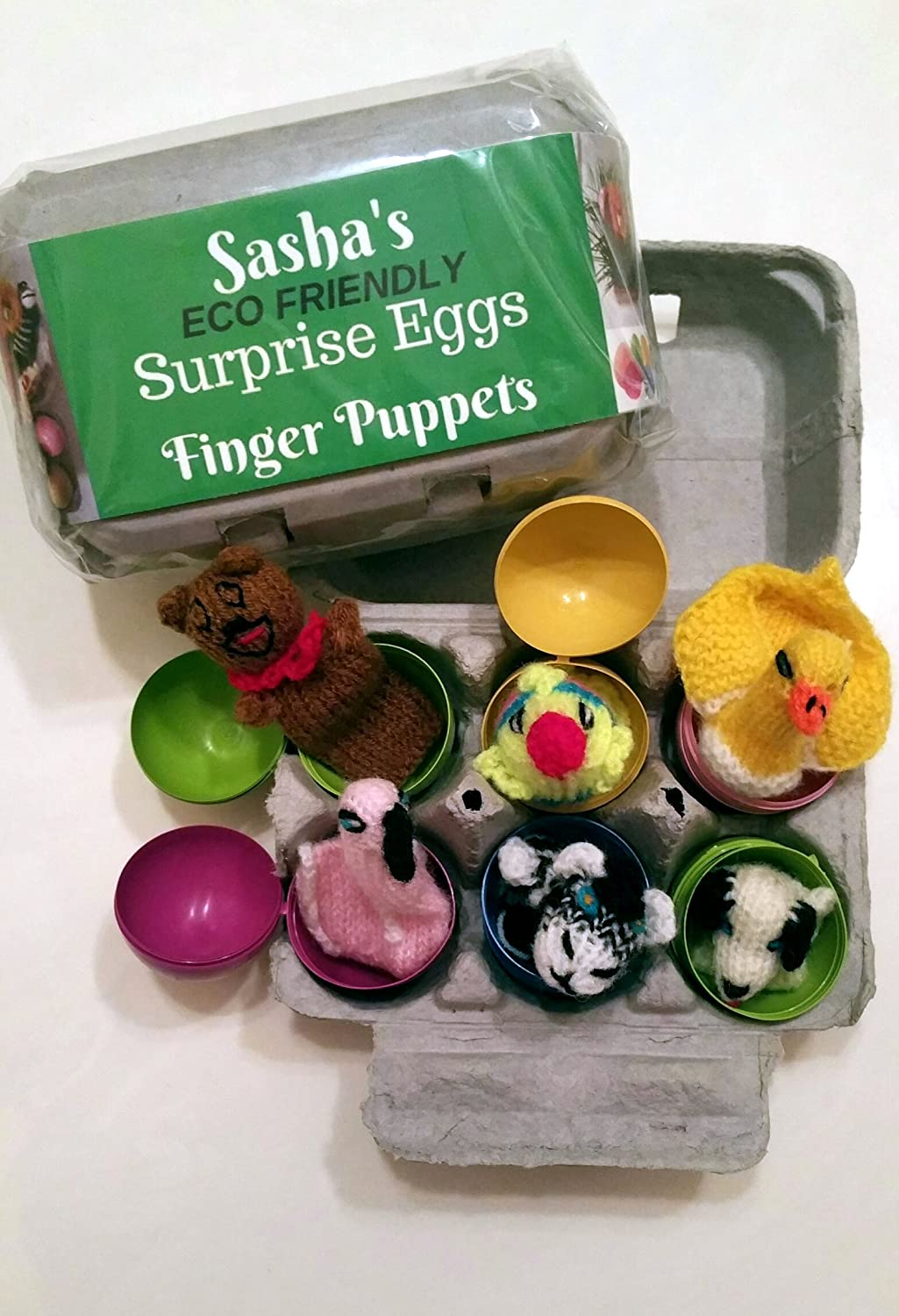 Sasha's 6 ECO Friendly Surprise Eggs with Knit Finger Puppet Animals Hiding Inside. Great for Party Favors, Birthday Gifts, Egg Hunts, Teaching Tools, Pre-school kids 3+ by Sasha Surprise Eggs