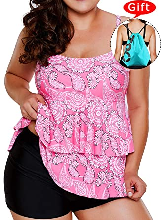 a6b4ae1975f Sylaon Two Piece Womens Swimsuits Plus Size Tankini Set A-Tops with Bottom Printed  Swimwear