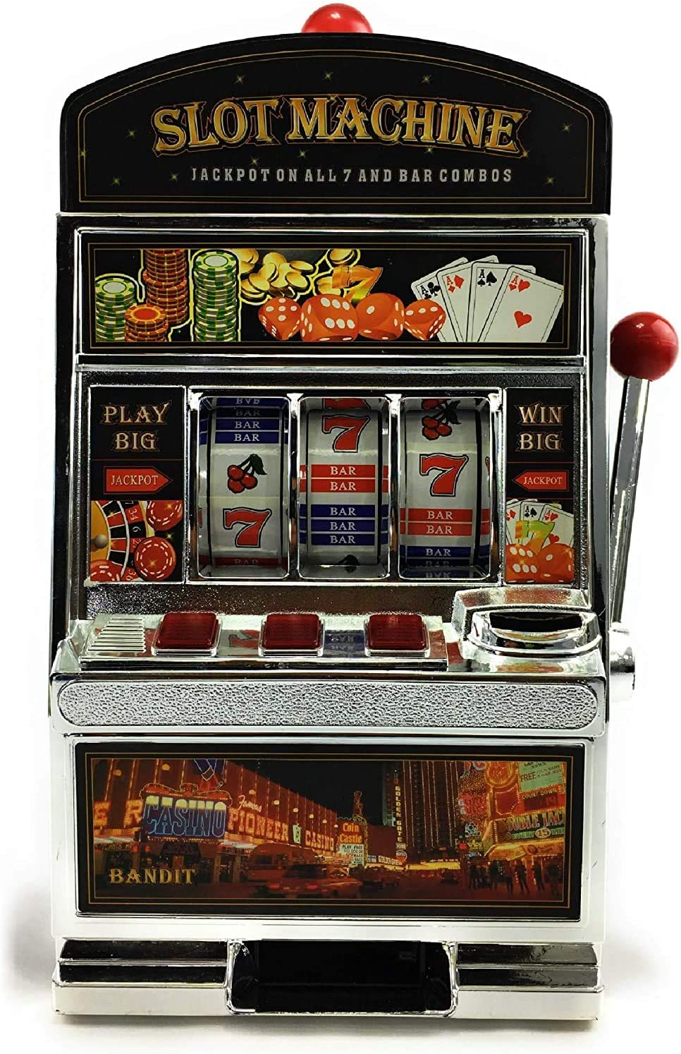 Table Top Toys Deluxe Lucky 7's Slot Machine Bank with Jackpot Sound & Flashing Lights