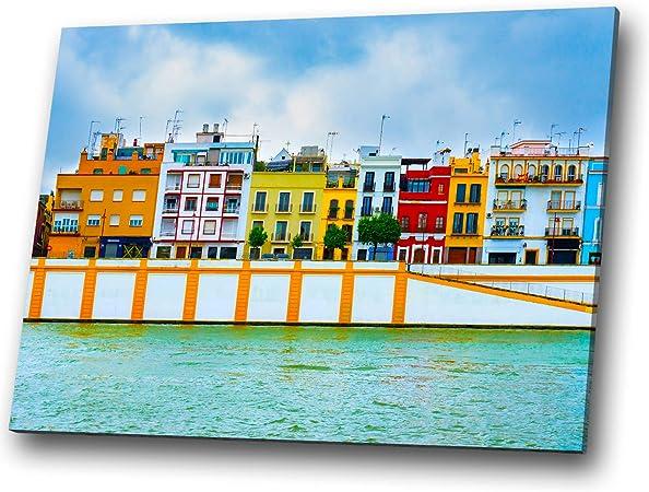 Arte de la pared del paisaje Sevilla España Naranja Azul Púrpura cuadro de la lona Impresión grande: Amazon.es: Hogar