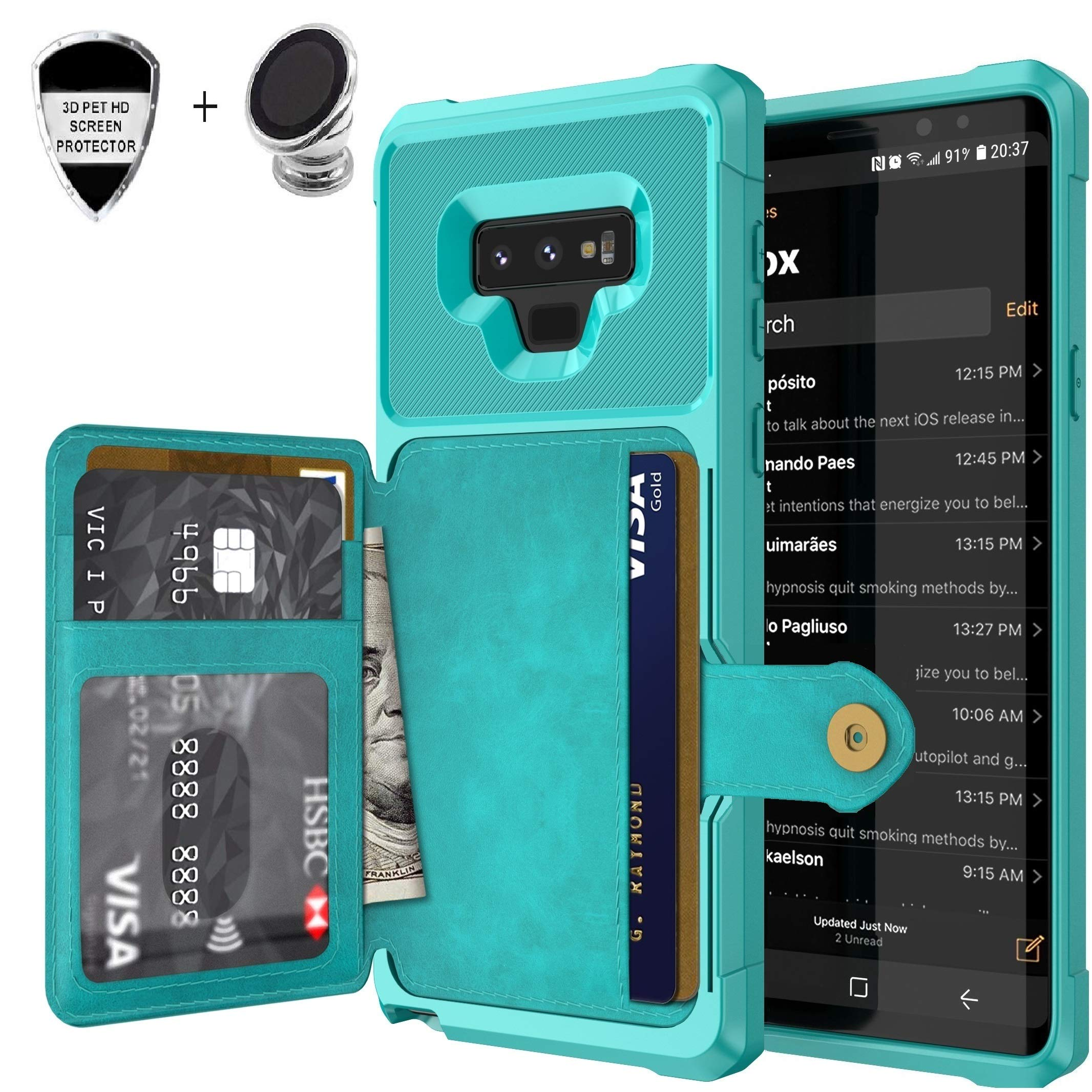 AWESOME Saisiweier Galaxy Note 9 leather wallet case with card slots