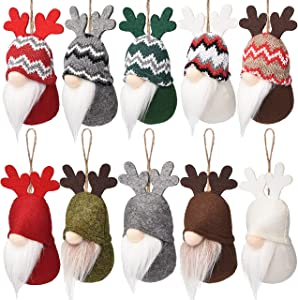 10 Pcs Christmas Tree Hanging Gnomes Ornaments, Elk Swedish Handmade Plush Gnome Santa Elf Walls, Stairs, Windows Hanging Home Decor Holiday Decorations