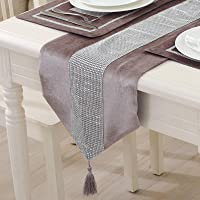 Vilygret 13X72 Inch Table Runner, Sequined Rhinestone Runners with Diamante Strip and Elegant Tassels for Home Kitchen…