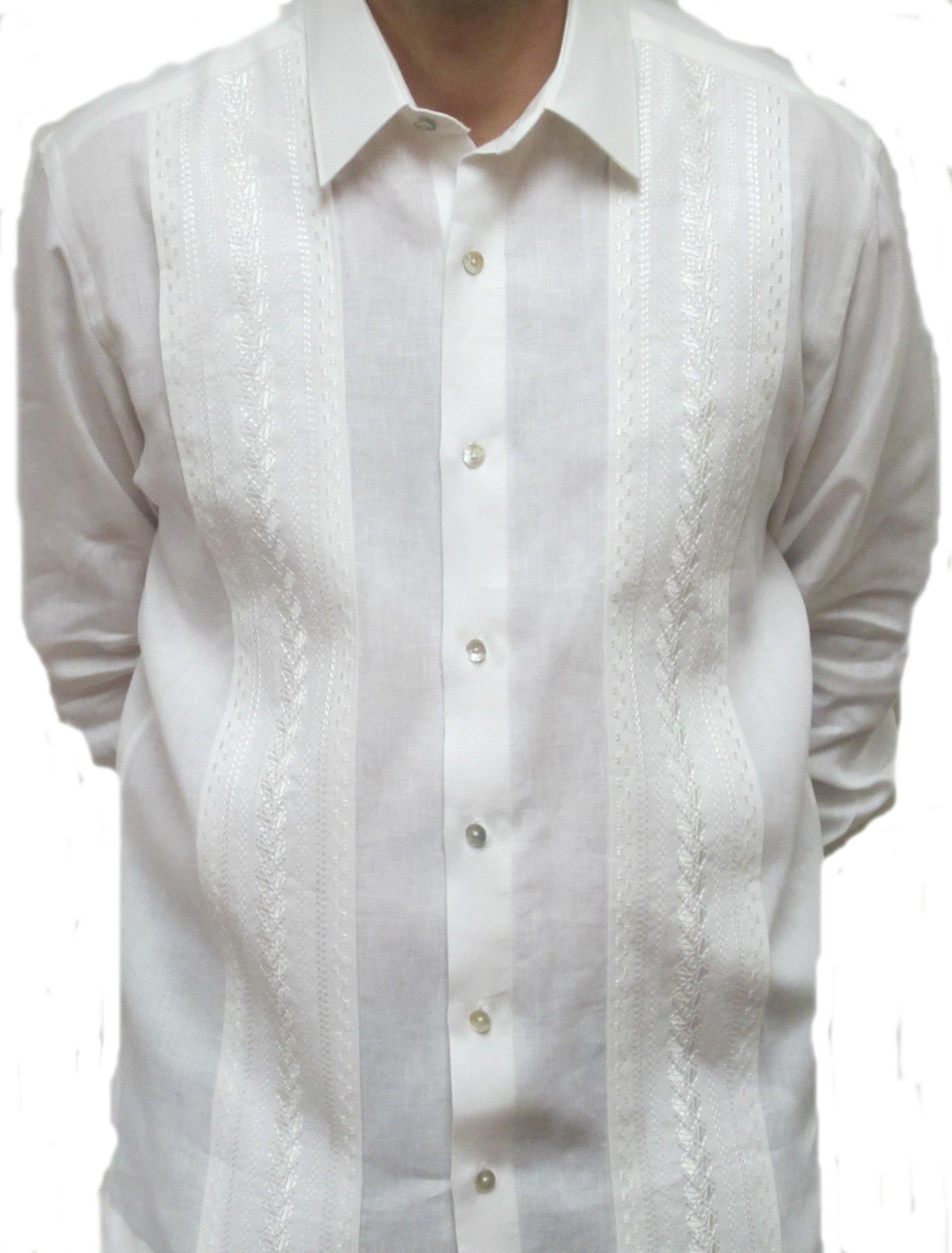 Penner's Men's Elegante Irish Linen Guayabera Shirt - Long Sleeve - White - Large