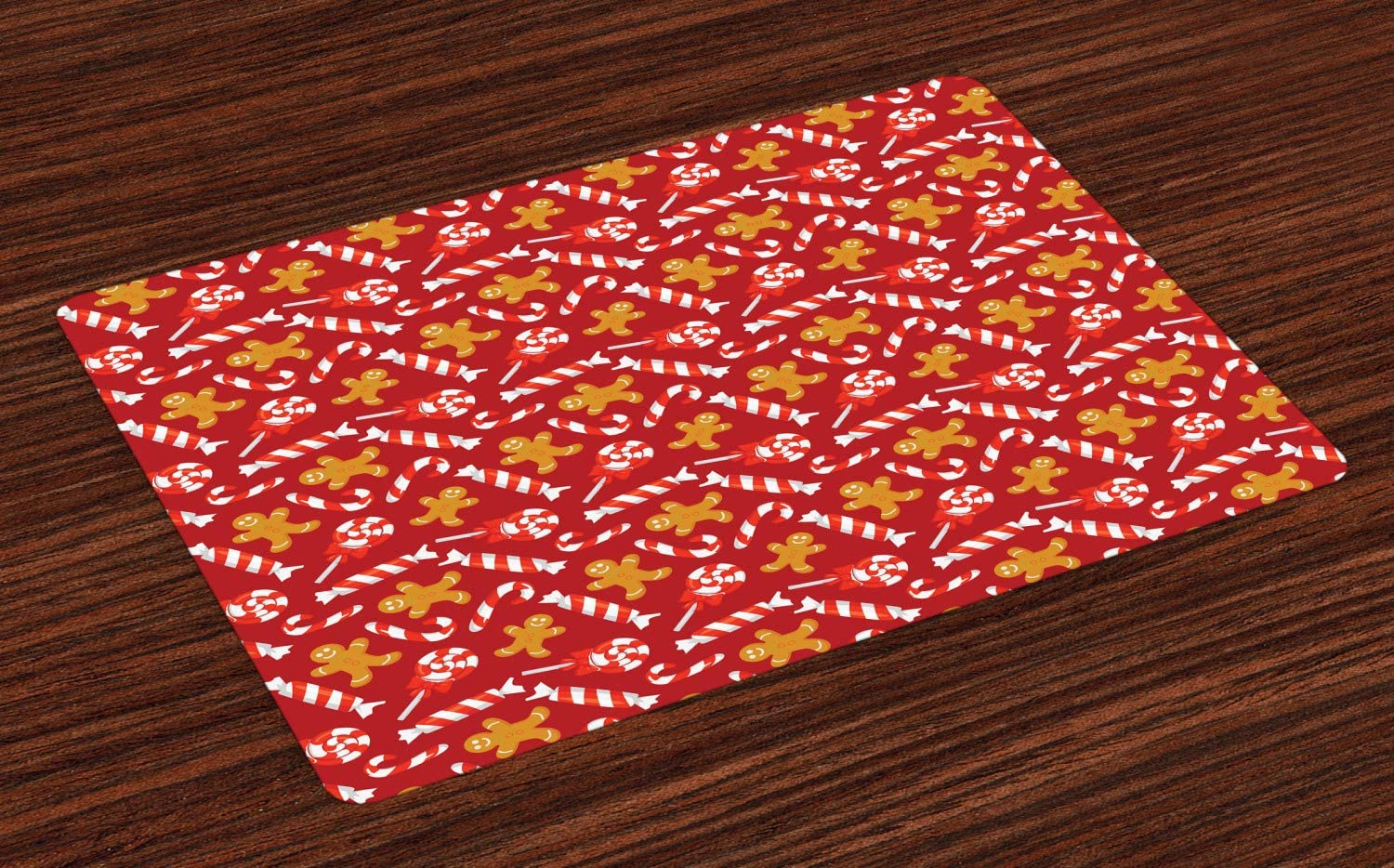 Lunarable Candy Cane Place Mats Set of 4, Gingerbread Man and Sweets Traditional Christmas New Year, Washable Fabric Placemats for Dining Room Kitchen Table Decor, Pale Brown Vermilion Red