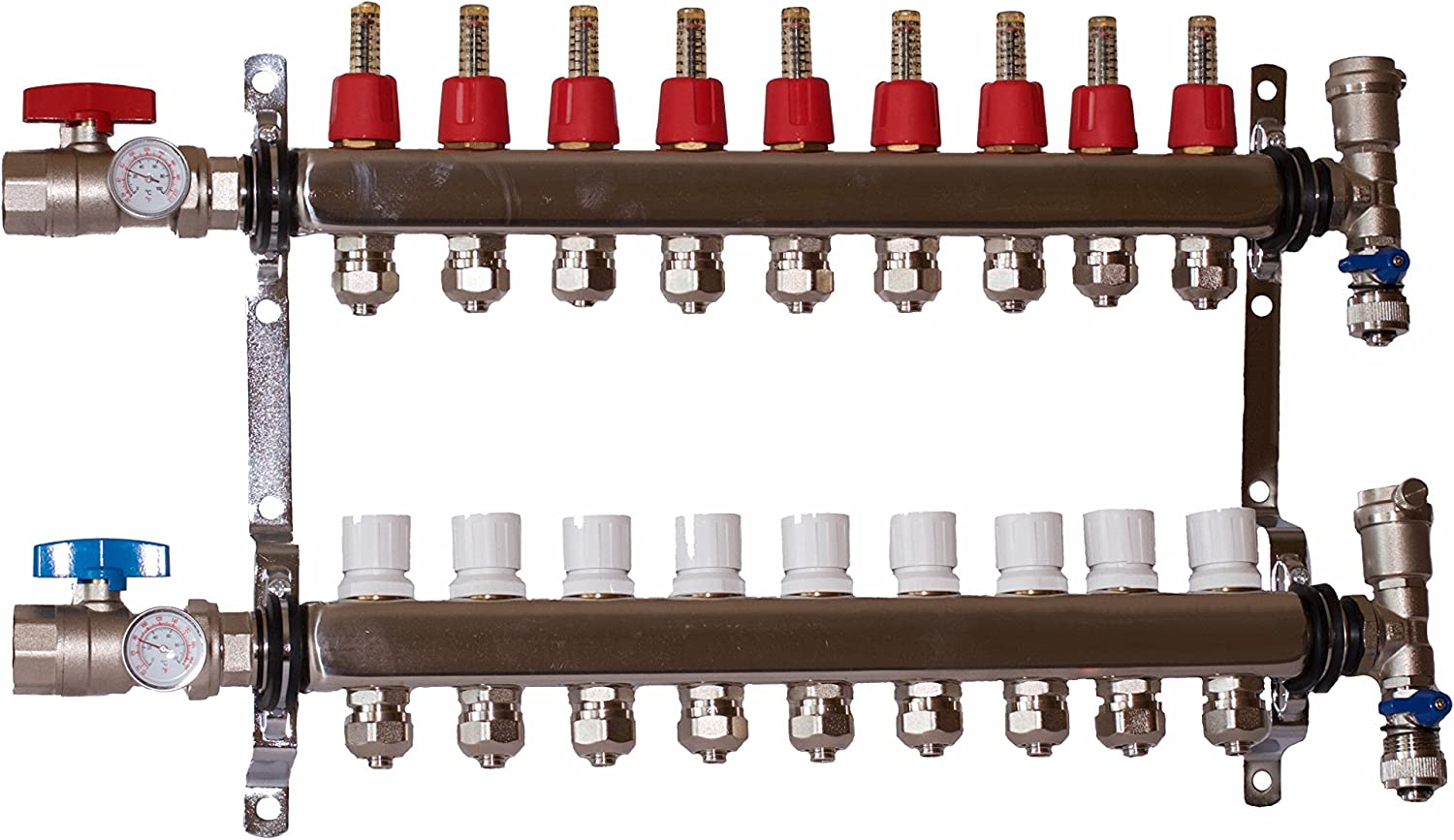 "9 LOOP/BRANCH 1/2"" PEX MANIFOLD WITH BALL VALVE STAINLESS STEEL RADIANT HEATING"