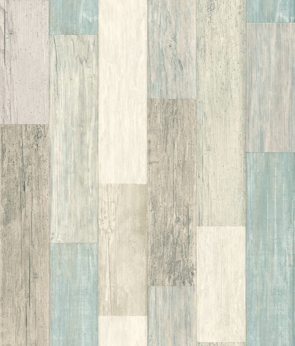 RoomMates Coastal Weathered Plank Blue & Tan Peel and Stick Wallpaper