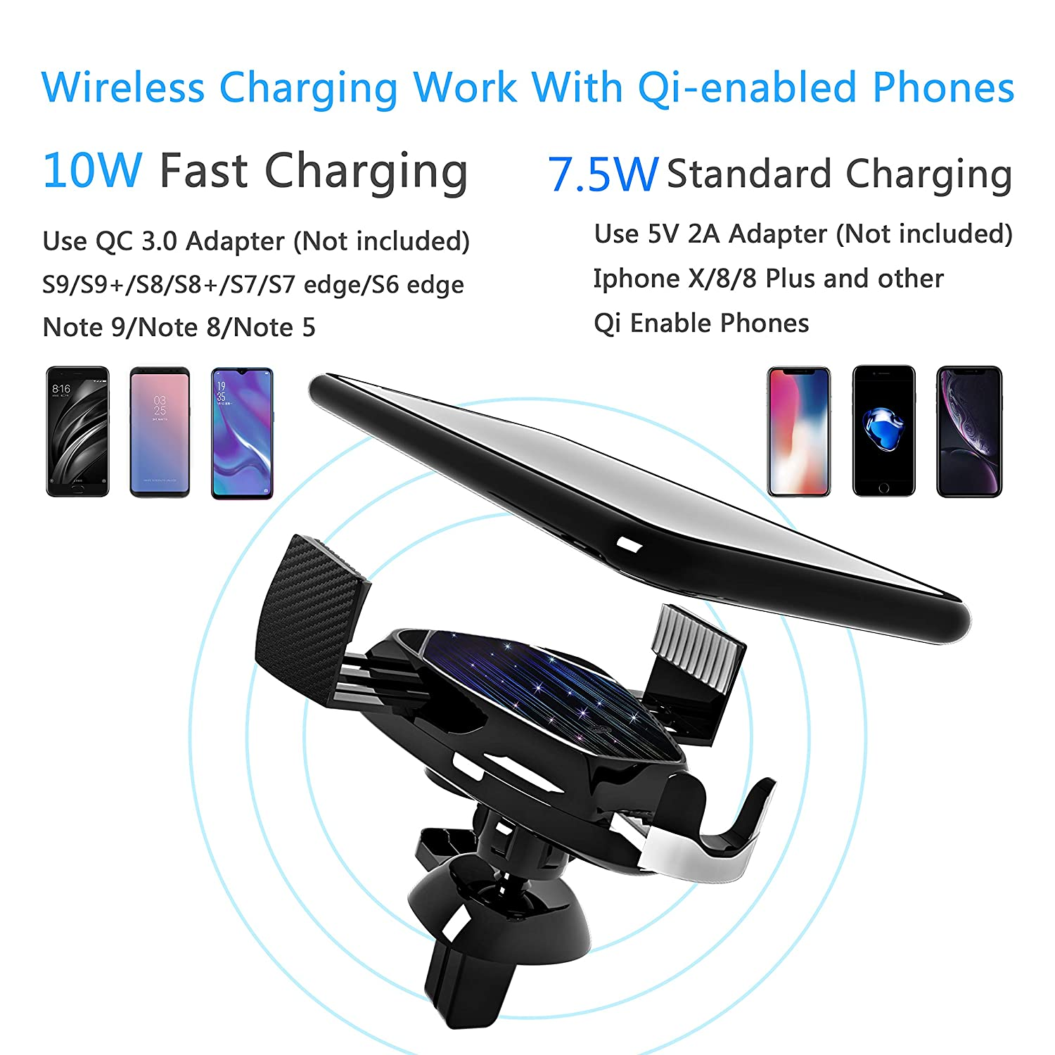 Auto-Clamping Wireless Car Charger with Infrared Motion Sensor, 10W 7.5W Fast Charging Car Phone Holder, Air Vent Compatible with iPhone Xs Max X XR 8 8 Plus, Samsung Note 9 S9 S9 S8
