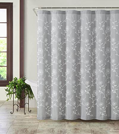 Silver Gray Rebecca White Embroidered Leaves Fabric Bathroom Shower Curtain