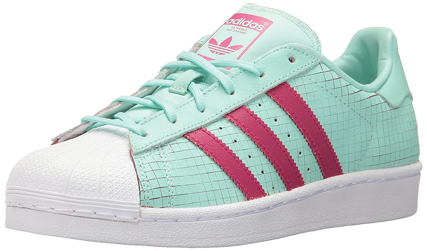 adidas Originals Women's Superstar J Shoes B01N3QE047 7 M US Big Kid|Icegrn/Icegrn/Bopink