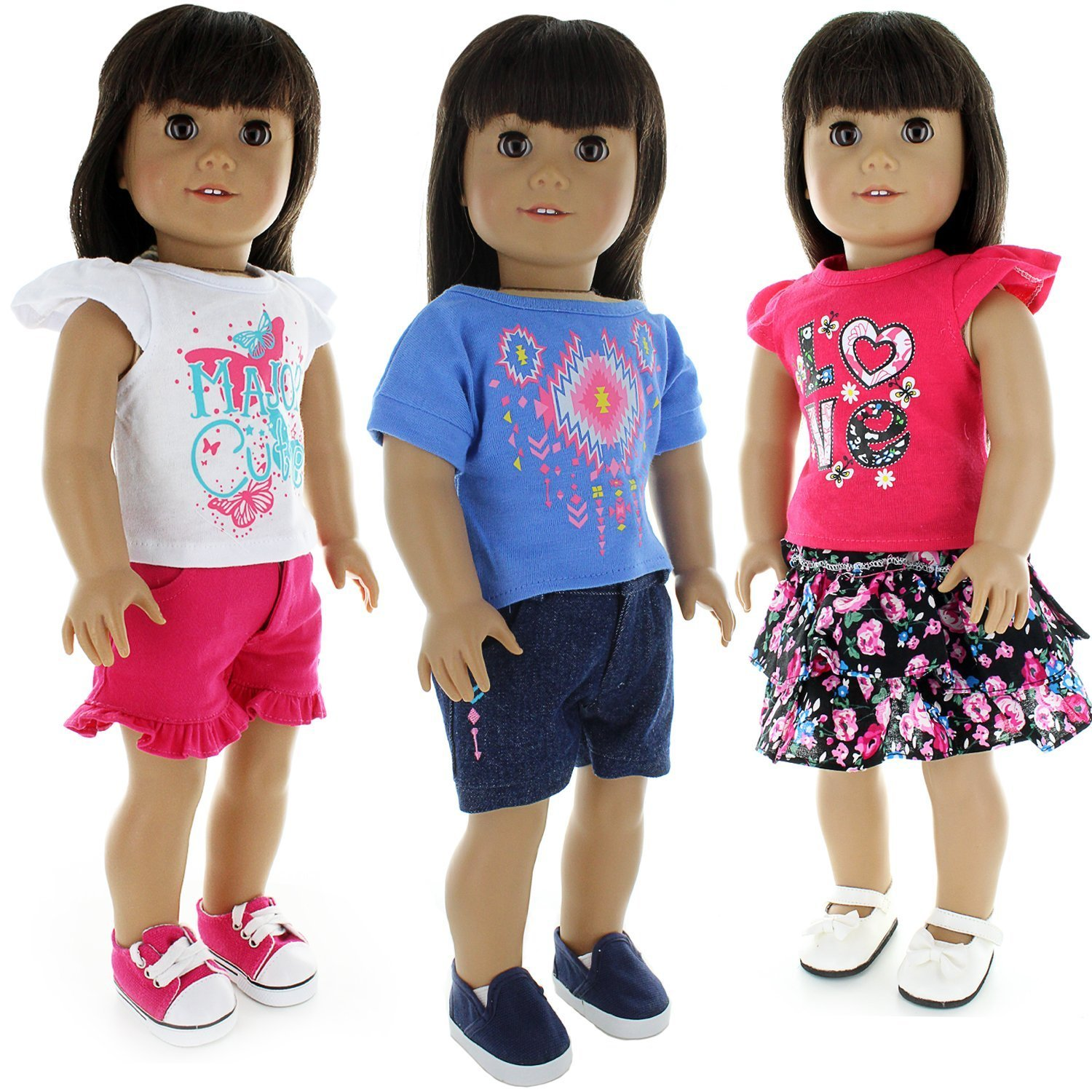 Doll Clothes - 6 pieces Mix and Match Clothes Outfit Fits American Girl Doll, My Life Doll, Our Generation and other 18 inch Dolls Pink Butterfly Closet