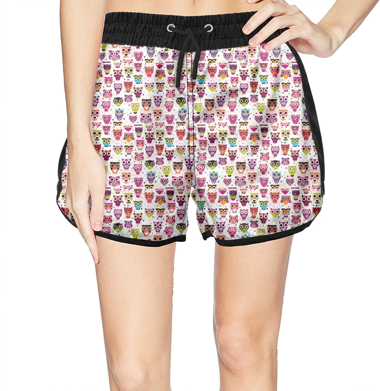 Eoyles Cute Owl Summer Beachwear Quick Dry Beach Short Shorts for Women Cool Shorts