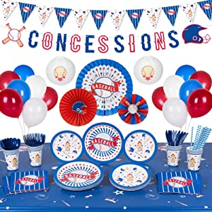 Decorlife Baseball Party Supplies Serves 16, Baseball Party Decoration for Boys Birthday, Complete Pack Include Lanterns, Tablecloth, Paper Fans, Banner, Pennant, Balloons, 151 PCS