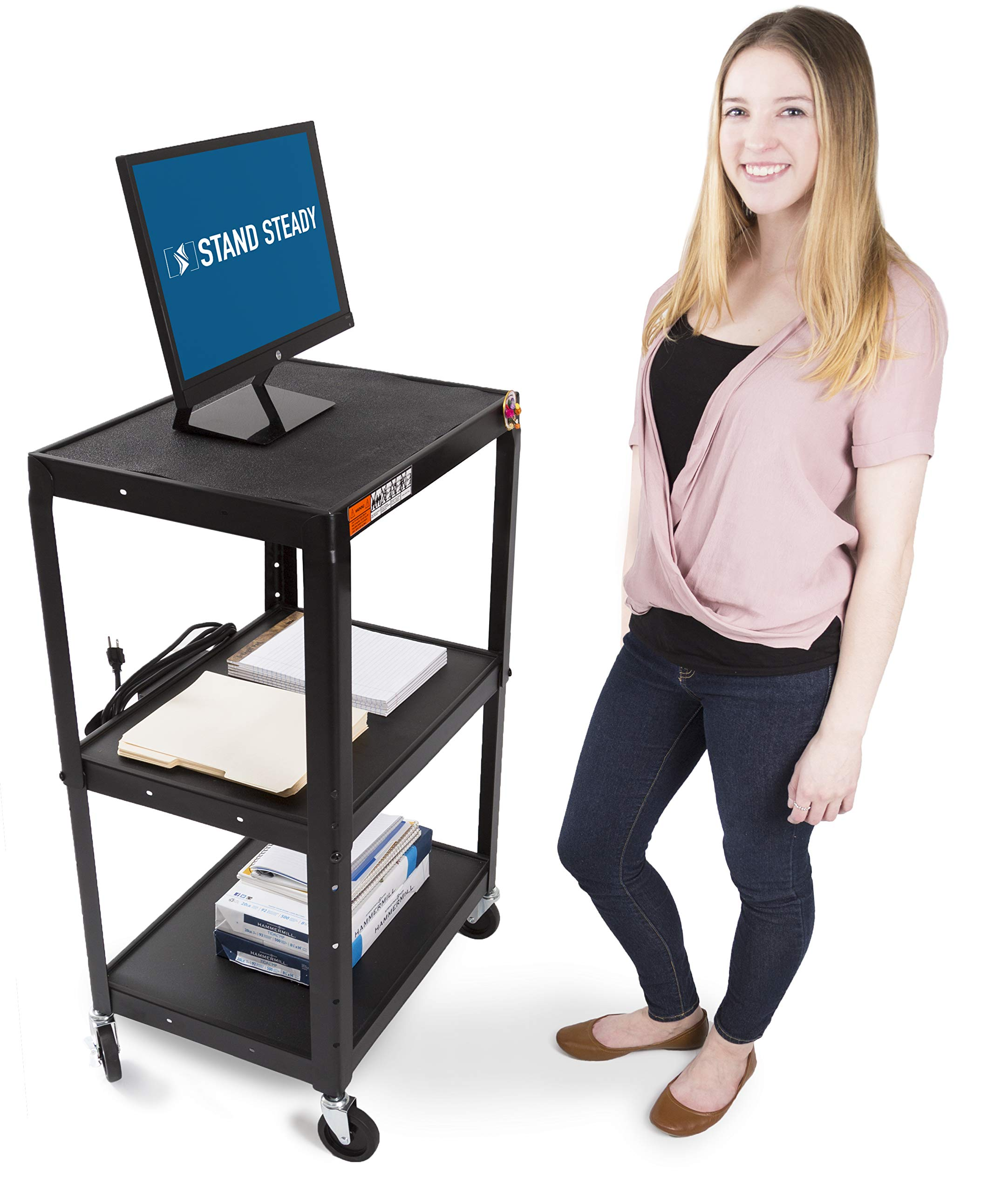 Line Leader AV Cart - Includes Height Adjustable Top Shelf! 15 ft Power Cord with Cord Management Included - Easy to Assemble! (42x24x18) (AV Cart - Black)