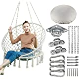 Greenstell Hammock Chair Macrame Swing with Hanging Kits, Hanging Cotton Rope Swing Chair, Comfortable Sturdy Hanging…