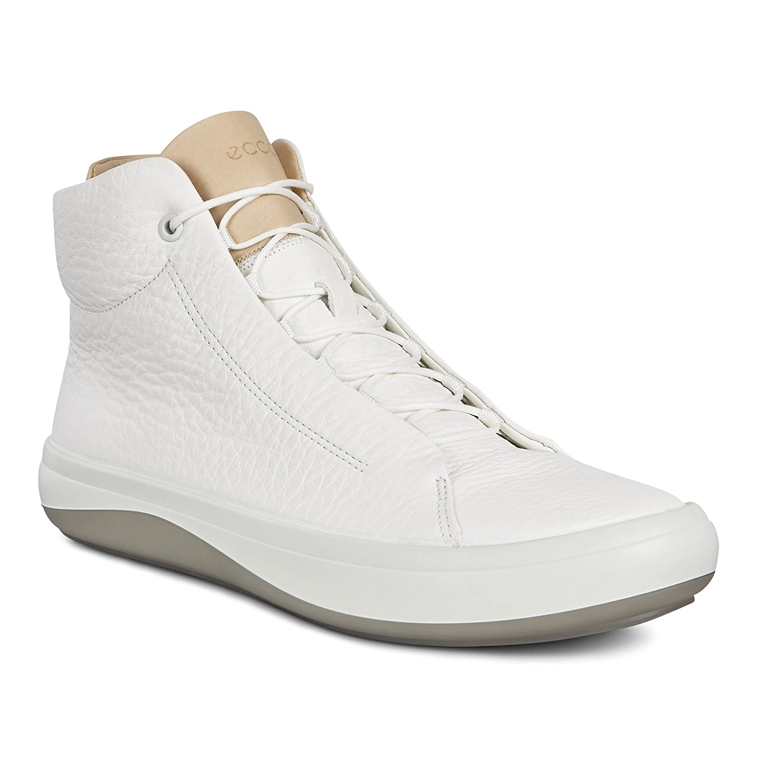 best wholesaler aliexpress temperament shoes ECCO Men's Kinhin High Top Fashion Sneaker, White/Veg Tan ...